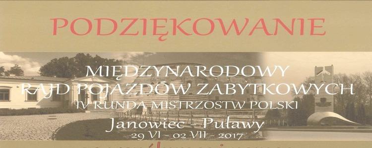 Podziękowanie za współpracę od Organizatora Rajdu Pojazdów Zabytkowych IV Rundy Mistrzostw Polski