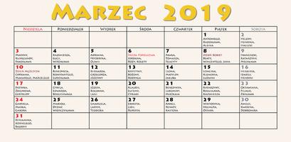 Kalendarz imprez - marzec 2019