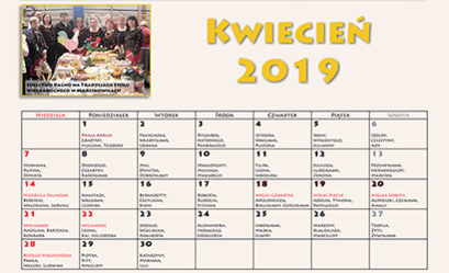 Kalendarz imprez - kwiecień 2019