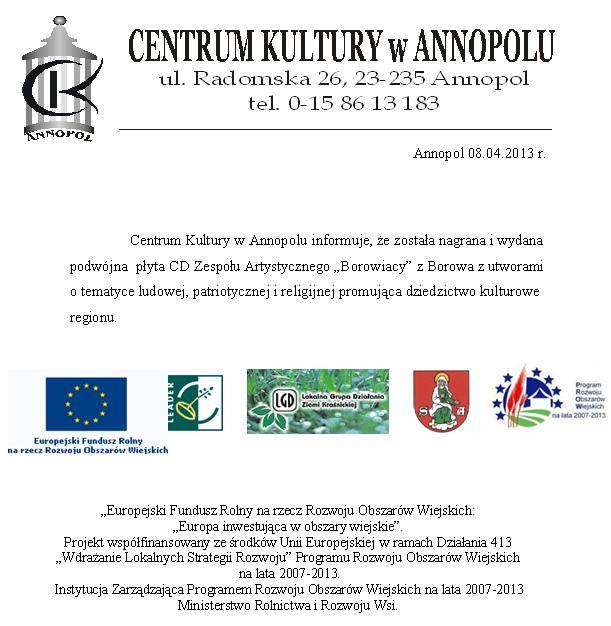 Informacja Centrum Kultury w Annopolu