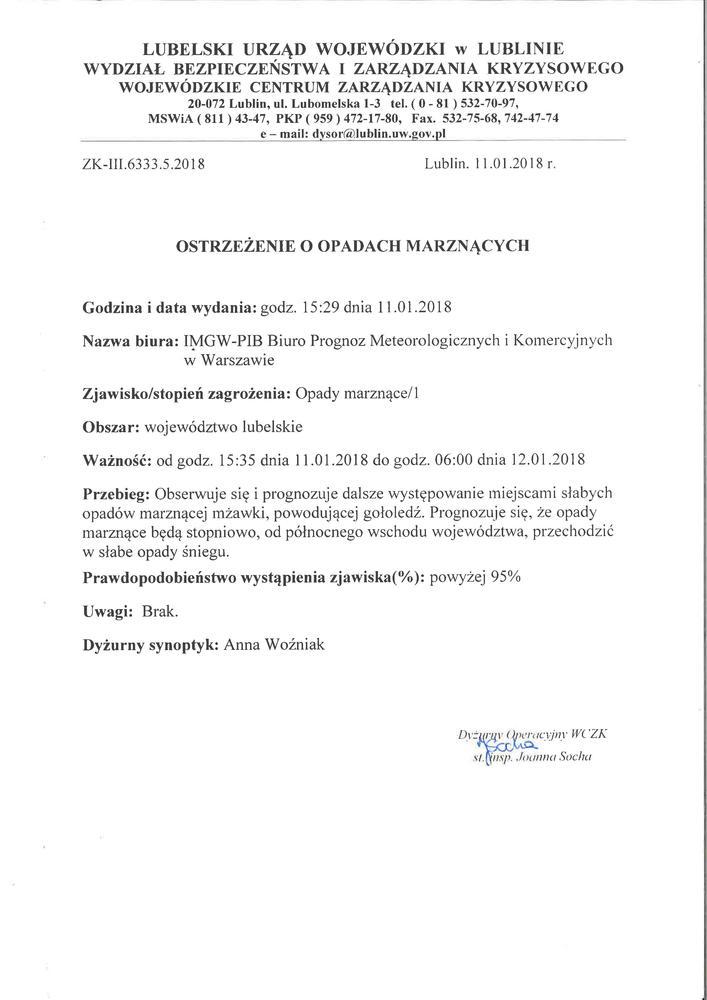 Ostrzeżenie o opadach marznących z dn. 11.01.2018 r.