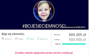 Fałszywa zbiórka na Antosia - oświadczenie zrzutka.pl