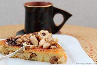 Ciasto z migdałami, orzechami i serem ricotta