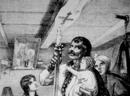 M. Andriolli. Matka Boska Gromniczna (Wypalanie znaku krzyża na tragarzu chaty w dzień Matki Boskiej Gromnicznej) domena publiczna