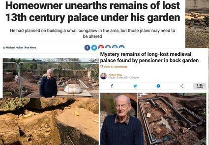 Na działce brytyjskiego emeryta odkryto ruiny pałacu. Teraz Charles Pole musi zapłacić 15 tysięcy funtów za prace archeologiczne