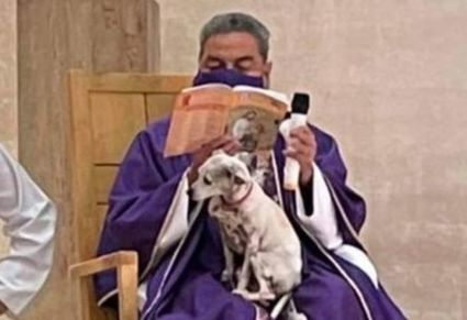 W Meksyku ksiądz odprawiał mszę ze swoim psem na kolanach