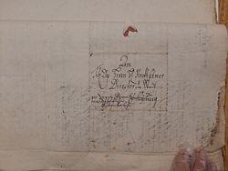 fragment pisma zaadresowanego do ówczesnego dyrektora miasta, jak nazywano burmistrza  Johanna Friedricha Kretschmera