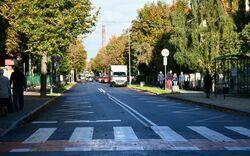 Ulica Aleje Lipowe widoczna od strony ul. Kolejowej.