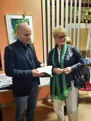 Mariusz Kurc z Sekretarz Miasta Sabiną Cebulą.