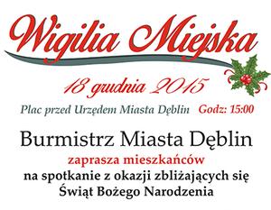 WIGILIA MIEJSKA  18 GRUDNIA 2015