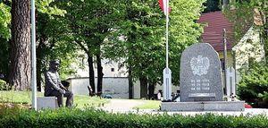 Multimedialna Ławka Niepodległości w centrum miasta.