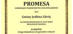 Promesa Samorządu Województwa Dolnośląskiego dla Gminy Jedlina-Zdrój.