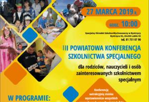 Zaproszenie na III Powiatową Konferencję Szkolnictwa Specjalnego