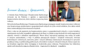 List prezesa KRUS z apelem o bezpieczne wakacje dla dzieci