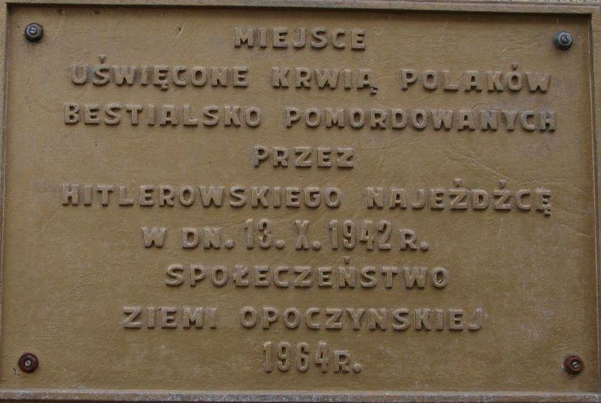 Tablica ku czci ofiar terroru niemieckiego
