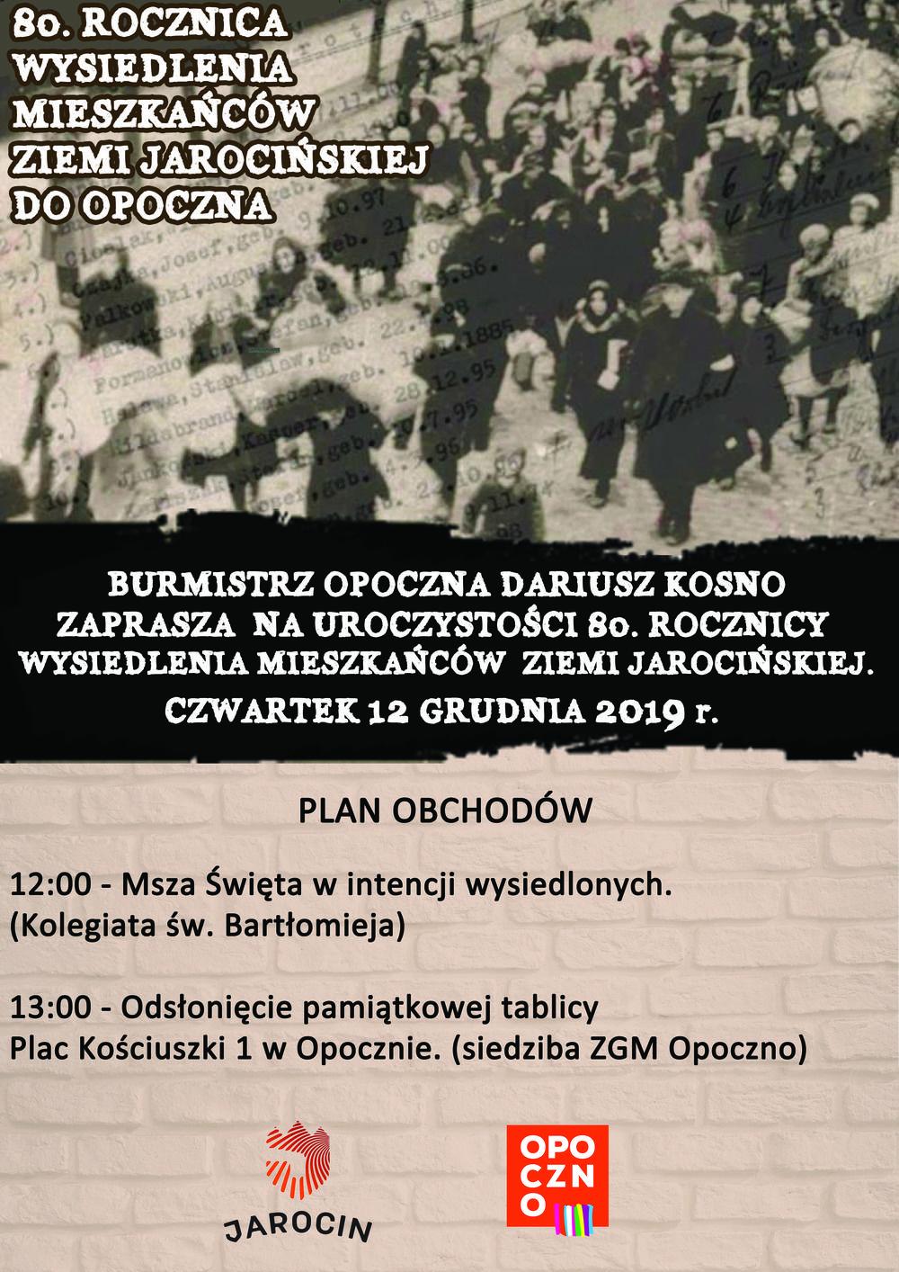 80. rocznicy wysiedlenia mieszkańców Ziemi Jarocińskiej do Opoczna