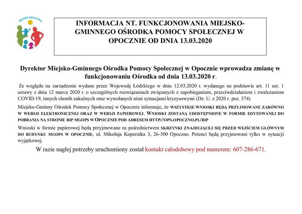 INFORMACJA NT. FUNKCJONOWANIA MIEJSKO-GMINNEGO OŚRODKA POMOCY SPOŁECZNEJ W OPOCZNIE OD DNIA 13.03.2020