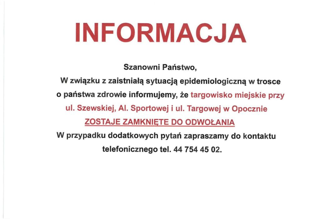 Informacja w sprawie targowiska miejskiego w Opocznie