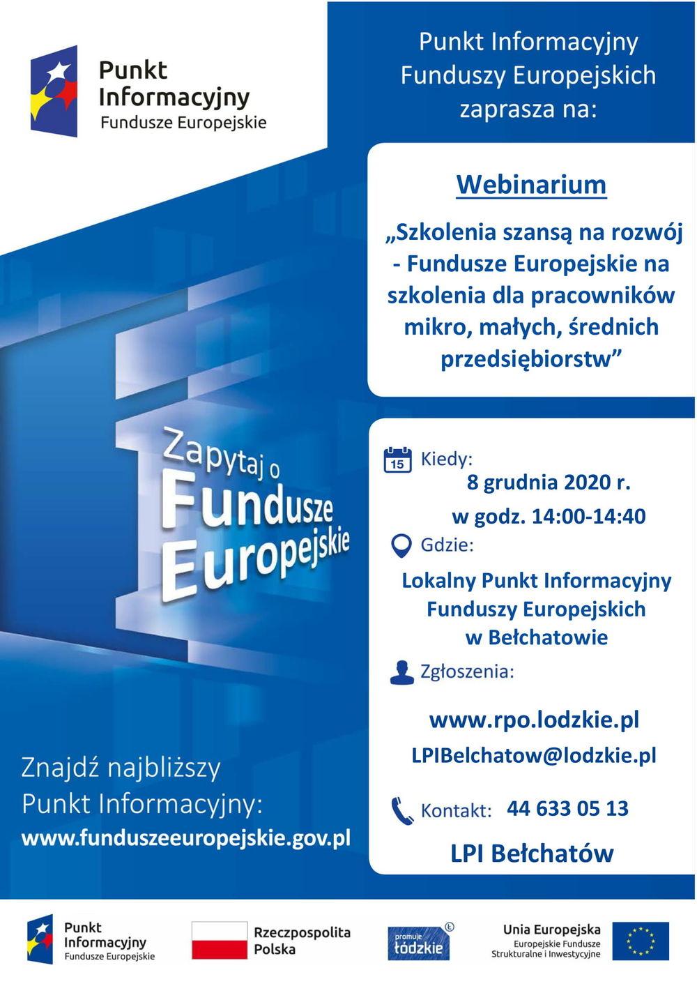 """""""Szkolenia szansą na rozwój - Fundusze Europejskie na szkolenia dla pracowników mikro, małych, średnich przedsiębiorstw"""""""