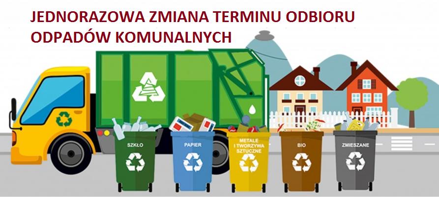 Jednorazowa zmiana terminów odbioru odpadów komunalnych