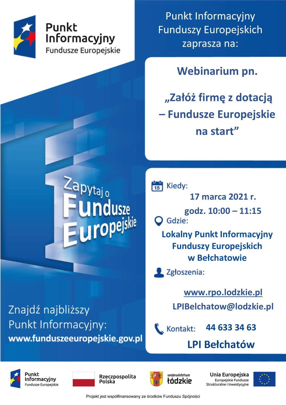 """""""Załóż firmę z dotacją – Fundusze Europejskie na start"""" - webinarium"""
