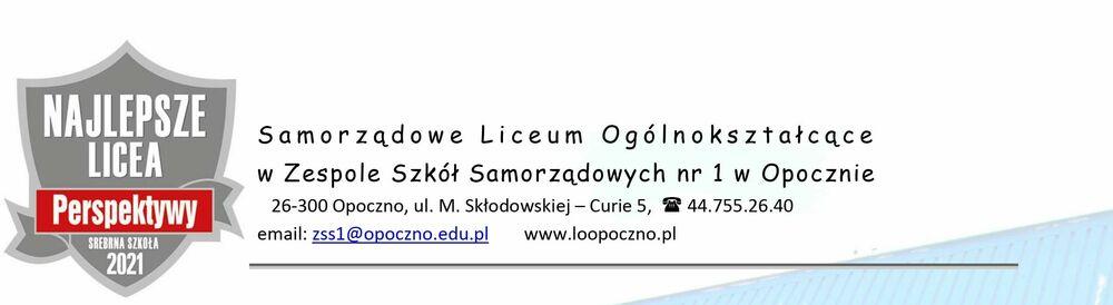 Oferta edukacyjna Samorządowego Liceum Ogólnokształcącego w Opocznie na rok szkolny 2021/2022.