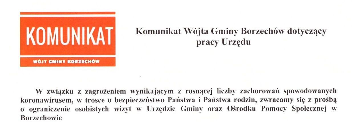 Komunikat Wójta Gminy Borzechów dotyczący pracy Urzędu