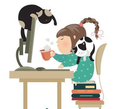 Osoba z kotami przed komputerem