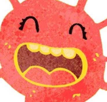 Uśmiechnięta czerwona buzia stwora