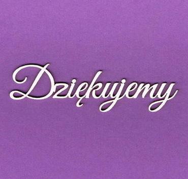 Napis Dziękujemy na fioletowym tle