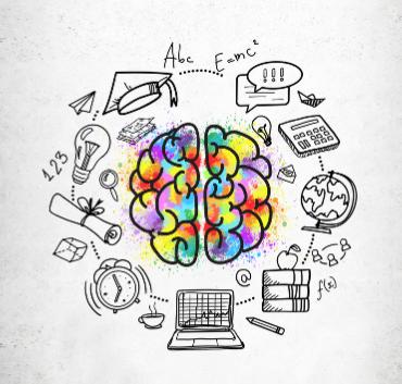 Grafika ikona mózgu w otoczeniu przedmiotów szkolnych