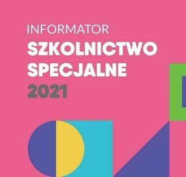 Różowa grafika z napisami INFORMATOR SZKOLNICTWO SPECJALNE 2021