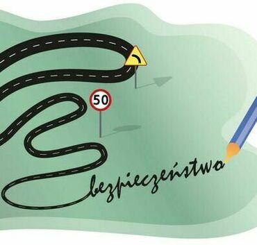 W środku szara grafika w kształcie chmury przedstawiająca czarną jezdnię ze znakami drogowymi. Na końcu jezdni znajduje się długopis i napis bezpieczeństwo