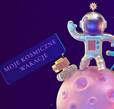Ilustracja kosmonauta i napis Moje kosmiczne wakacje
