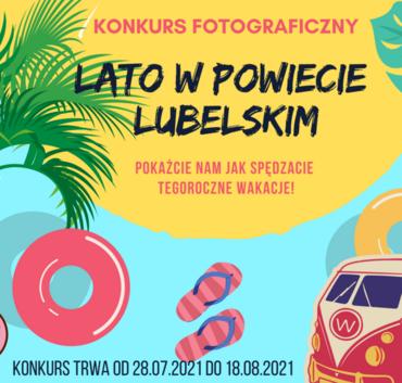 Kawałek plakatu z napisami konkurs fotograficzny LATO W POWIECIE LUBELSKIM