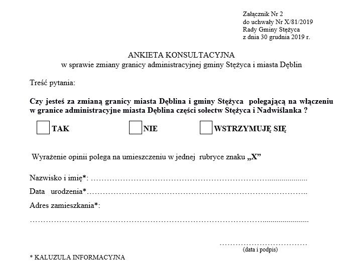 Ankieta konsultacyjna w sprawie zmiany granicy administracyjnej gminy Stężyca i miasta Dęblin