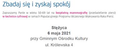 Bezpłatne badania mammograficzne - Stężyca - 6 maja 2021r.