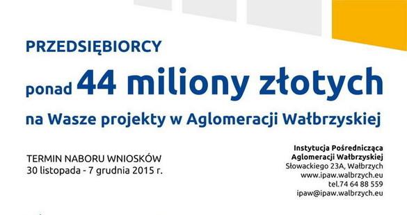 Przedsiębiorcy! Ponad 44 mln zł do wzięcia na Wasze projekty w Aglomeracji Wałbrzyskiej!