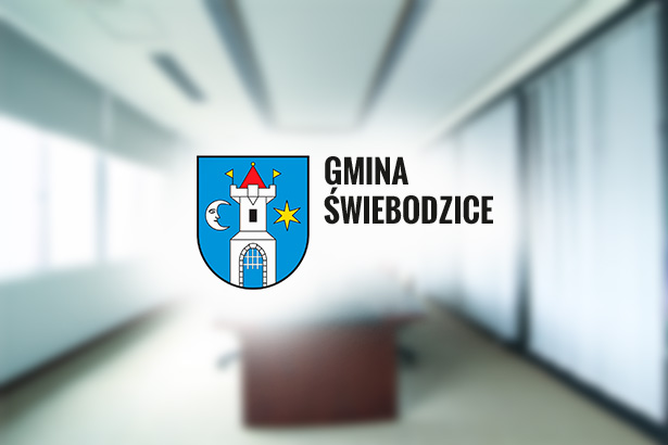 Herb Gmina Świebodzice na rozmytym tle