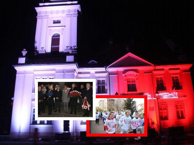 Zdjęcie budynku w kolorach flagi i dwa zdjęcia z wydarzeń