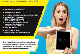 Kawałek plakatu - szkolenie. Dostep do szkolen takżo w wersji e-learning e-aktywni Informacje dotyczące zapisów na szkolenia umieszczone zostały na stronie internetowej Urzędu Gminy oraz na stronie Naszego Partnera www.fwzr.pl/rezerwacje