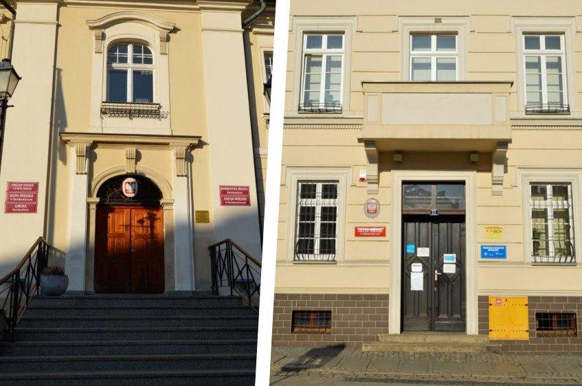 Budynek urzędu z zewnątrz, schody i drzwi