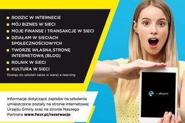 Plakat szkolenia Dostęp do szkoleń także w wersji e-learning | e-aktywni Informacje dotyczące zapisów na szkolenia umieszczone zostały na stronie internetowej Urzędu Gminy oraz na stronie Naszego Partnera www.fwzr.pl/rezerwacje