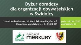 Plakat informacyjny, białe napisy na zielonym tle