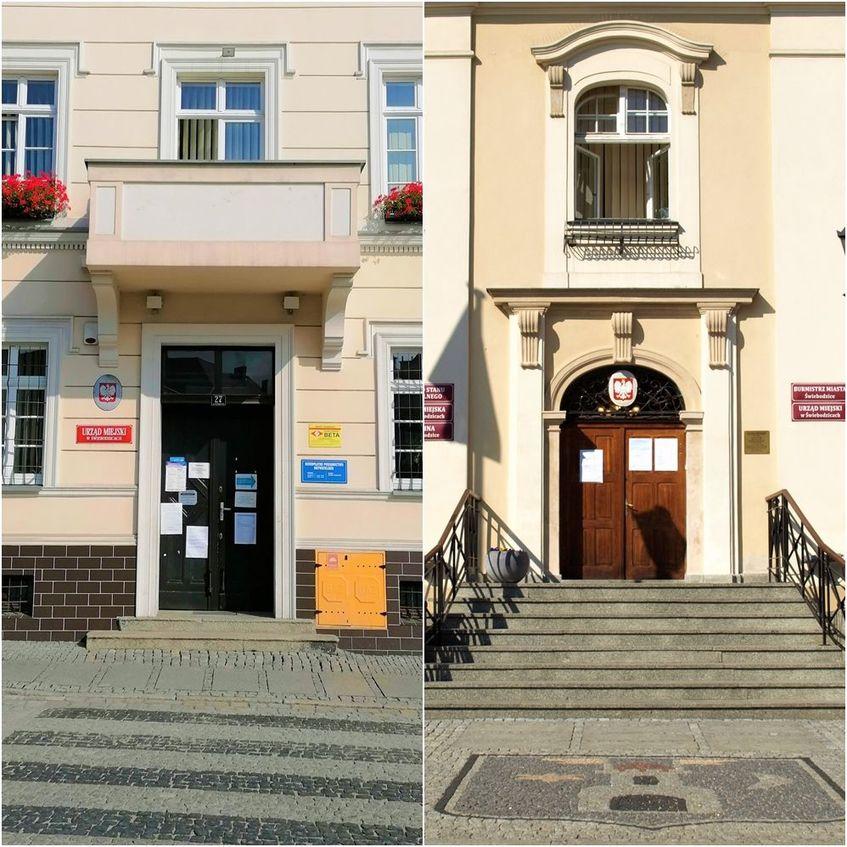Zdjęcie przedstawia  przełamane zdjęcie na którym po prawej widać wejście do Urzędu Miejskiego w Świebodzicach od ul. Żeromskiego, a po lewej wejście do Ratusza Miejskiego.