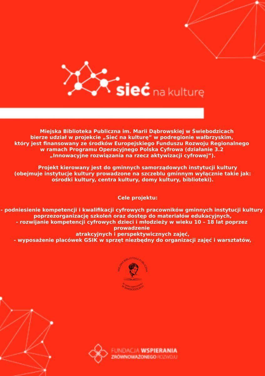 Plakat informacyjny projektu Sieć na kulturę.