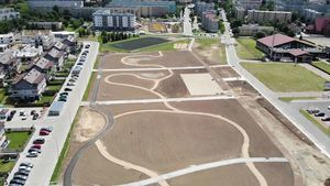 Park Sportowy. Widok placu budowy z lotu ptaka.