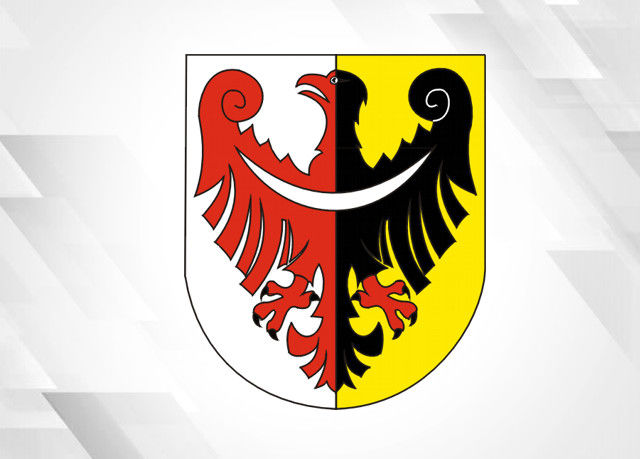 Herb Starostwa powiatowego w Świdnicy na szarym tle