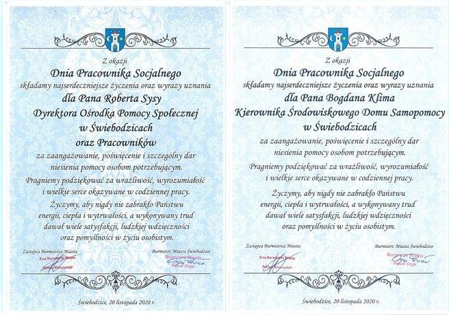 Grafika przedstawiająca dwa dyplomy: Roberta Sysy i Bogdana Klima