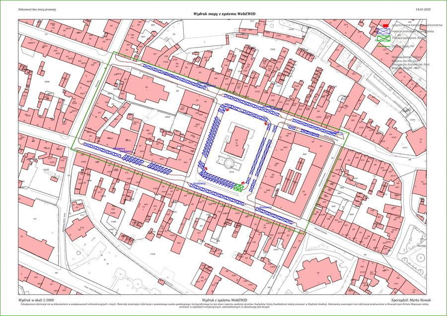 Mapa planowanej strefy płatnego parkowania